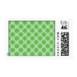 Girly Fun Cute Green Polka Dots Pattern on Green Postage Stamps