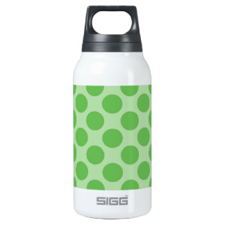 Girly Fun Cute Green Polka Dots Pattern on Green Thermos Water Bottle