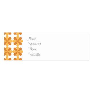 Girly Fun Orange Cris Cross Floral Flowers Pattern Mini Business Card