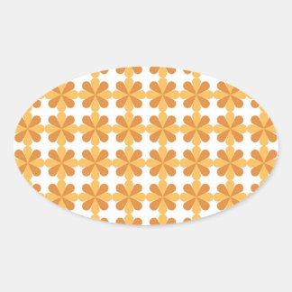 Girly Fun Orange Cris Cross Floral Flowers Pattern Oval Sticker