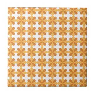 Girly Fun Orange Cris Cross Floral Flowers Pattern Tile