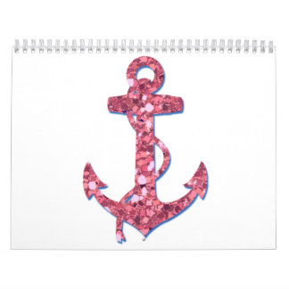 Girly, Fun, Pink Glitter Anchor Printed Calendar