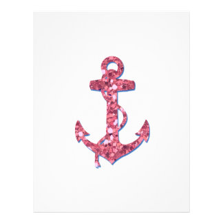 Girly, Fun, Pink Glitter Anchor Printed Flyer