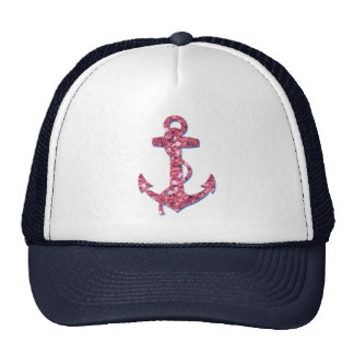 Girly, Fun, Pink Glitter Anchor Printed Trucker Hat