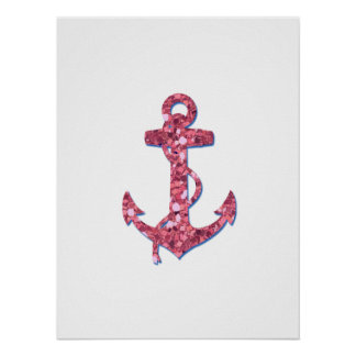 Girly, Fun, Pink Glitter Anchor Printed Poster