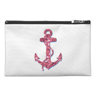Girly, Fun, Pink Glitter Anchor Printed Travel Accessories Bags