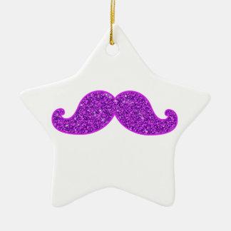 Girly fun retro mustache purple glitter ceramic ornament