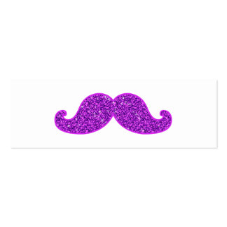Girly fun retro mustache purple glitter Double-Sided mini business cards (Pack of 20)