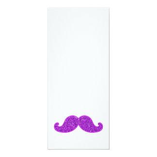 Girly fun retro mustache purple glitter 4x9.25 paper invitation card
