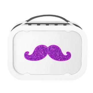 Girly fun retro mustache purple glitter lunch box