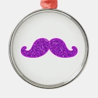 Girly fun retro mustache purple glitter metal ornament