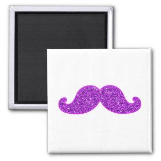 Girly fun retro mustache purple glitter printed magnets