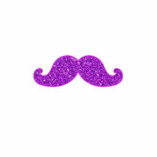 Girly fun retro mustache purple glitter printed photo sculptures