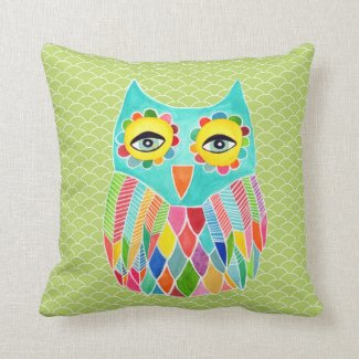 Girly Funky Modern Lime Green Owl Art Cushion Pillows