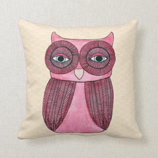 Girly Funky Modern Owl Art Cushion Throw Pillow