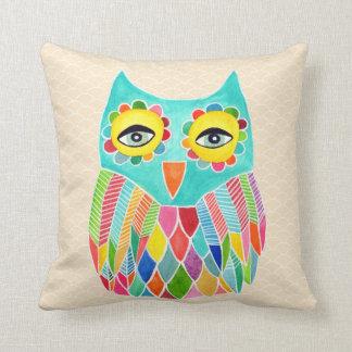 Girly Funky Modern Unique Owl Art Cushion Throw Pillows