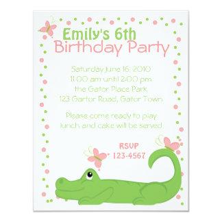 "Girly Gator 4.25"" X 5.5"" Invitation Card"