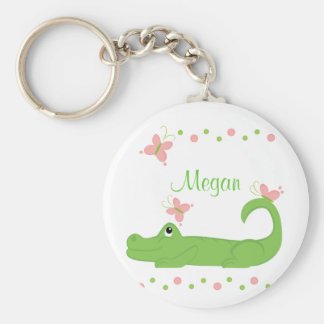 GIrly Gator Basic Round Button Keychain