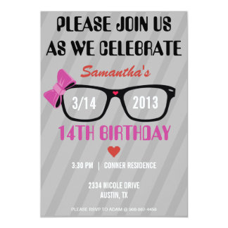 Girly Geek Glasses & Hearts Birthday Invitation