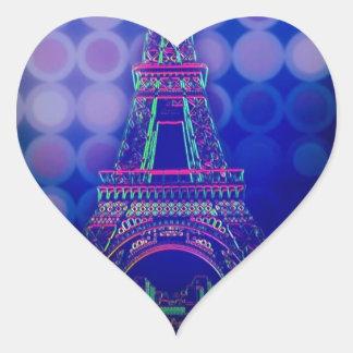 girly Geometric circles purple paris eiffel tower Heart Sticker