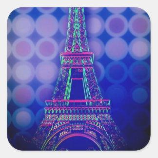 girly Geometric circles purple paris eiffel tower Square Sticker