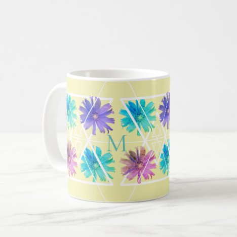 Girly geometric monogram floral coffee mug