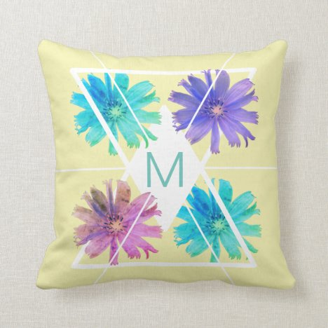 Girly geometric monogram floral throw pillow