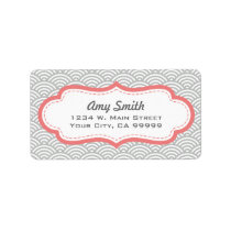 Girly Geometric Pattern Gray and Coral Pink Label