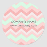 Girly Geometric Pattern pink and mint chevron Classic Round Sticker