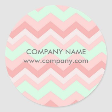 Girly Geometric Pattern pink and mint chevron Classic Round Sticker