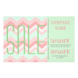 Girly Geometric Pattern pink and mint chevron Flyer