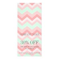 Girly Geometric Pattern pink and mint chevron Rack Card