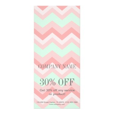 Girly Geometric Pattern pink and mint chevron Rack Card