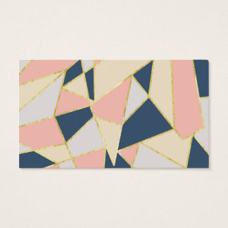 Girly Geometric Triangles with Faux Gold Business Card