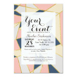 Girly Geometric Triangles with Faux Gold 3.5x5 Paper Invitation Card