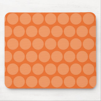 Girly Giant Big Orange Peach Polka Dots Pattern Mouse Pad