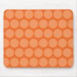Girly Giant Big Orange Peach Polka Dots Pattern Mousepads