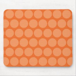Girly Giant Big Orange Peach Polka Dots Pattern Mouse Pad