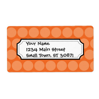 Girly Giant Big Orange Polka Dots Pattern Label