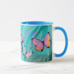 """Girly Gift! Butterfly Mug, Add NAME! Mug<br><div class=""""desc"""">Check out my other MATCHING BUTTERFLY ITEMS! Search """"Butterfly"""" at zazzle.com/kfwinters</div>"""