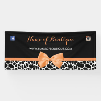 Girly Giraffe Print Boutique Orange Bow 6 ft Banner