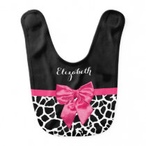 Girly Giraffe Print Cute Hot Pink Bow Baby Name Bib