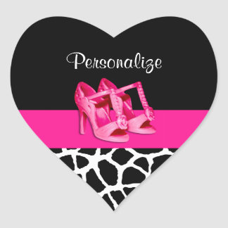 Girly Giraffe Print Cute Pink Shoes With Name Heart Sticker