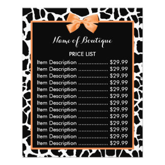 Girly Giraffe Print Orange Bow Boutique Price List Flyer