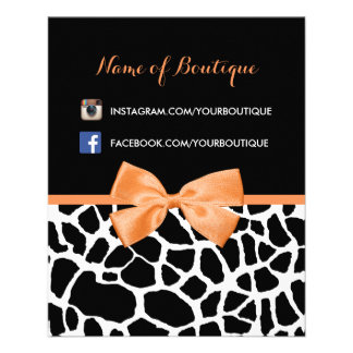 Girly Giraffe Print Orange Bow Fashion Boutique Flyer