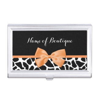 Girly Giraffe Print Orange Ribbon Bow Boutique Business Card Case