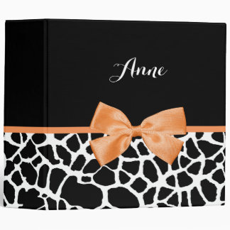Girly Giraffe Print Orange Ribbon Bow With Name 3 Ring Binder