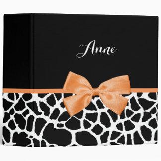 Girly Giraffe Print Orange Ribbon Bow With Name Binders