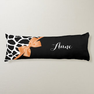 Girly Giraffe Print Orange Ribbon Bow With Name Body Pillow