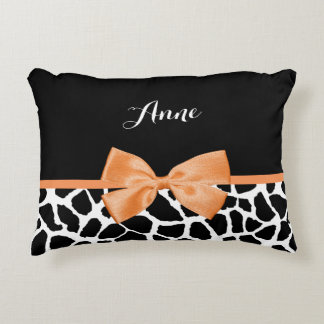 Girly Giraffe Print Orange Ribbon Bow With Name Decorative Pillow